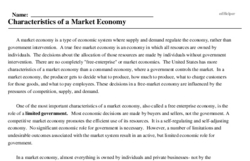 Print <i>Characteristics of a Market Economy</i> reading comprehension.