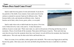 Print <i>Where Does Sand Come From?</i> reading comprehension.
