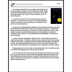 Print <i>Avi</i> reading comprehension.