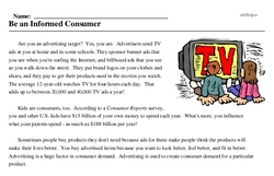 Print <i>Be an Informed Consumer</i> reading comprehension.