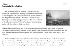 Print <i>Industrial Revolution</i> reading comprehension.