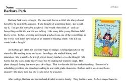 Print <i>Barbara Park</i> reading comprehension.