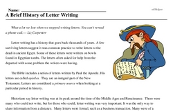 Print <i>A Brief History of Letter Writing</i> reading comprehension.