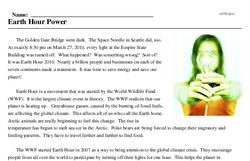 Print <i>Earth Hour Power</i> reading comprehension.