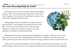 Print <i>How Does Recycling Help the Earth?</i> reading comprehension.