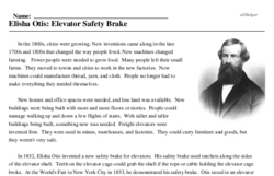 Print <i>Elisha Otis: Elevator Safety Brake</i> reading comprehension.