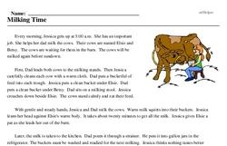 Print <i>Milking Time</i> reading comprehension.