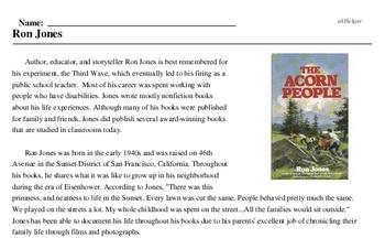 Print <i>Ron Jones</i> reading comprehension.