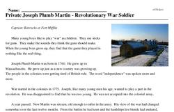 Print <i>Private Joseph Plumb Martin - Revolutionary War Soldier</i> reading comprehension.