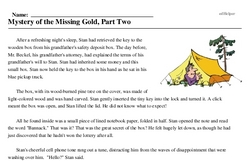 Print <i>Mystery of the Missing Gold, Part Two</i> reading comprehension.