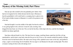 Print <i>Mystery of the Missing Gold, Part Three</i> reading comprehension.