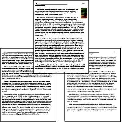 Print <i>Ishmael Beah</i> reading comprehension.
