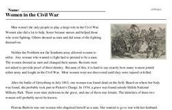 Print <i>Women in the Civil War</i> reading comprehension.