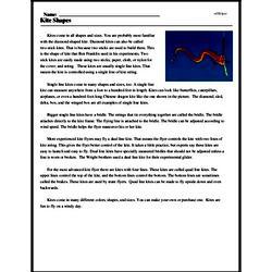 Print <i>Kite Shapes</i> reading comprehension.