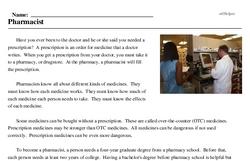 Print <i>Pharmacist</i> reading comprehension.