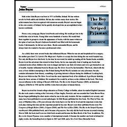 Print <i>John Boyne</i> reading comprehension.