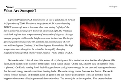 Print <i>What Are Sunspots?</i> reading comprehension.