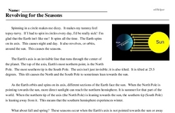 Print <i>Revolving for the Seasons</i> reading comprehension.