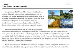 Print <i>The Earth's Four Seasons</i> reading comprehension.