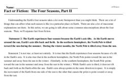 Print <i>Fact or Fiction: The Four Seasons, Part II</i> reading comprehension.