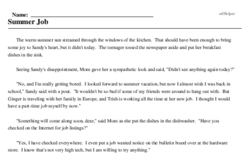 Print <i>Summer Job</i> reading comprehension.