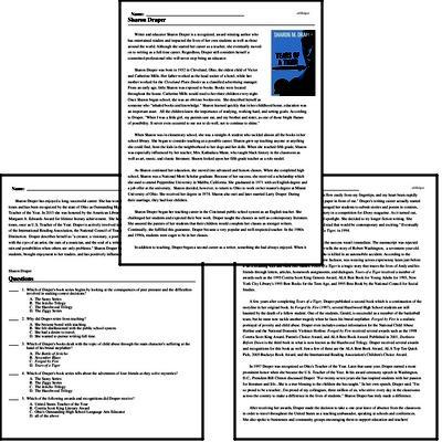 Print <i>Sharon Draper</i> reading comprehension.