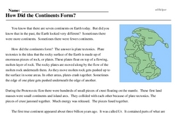 Print <i>How Did the Continents Form?</i> reading comprehension.