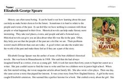 Print <i>Elizabeth George Speare</i> reading comprehension.