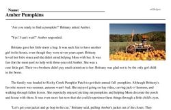Print <i>Amber Pumpkins</i> reading comprehension.
