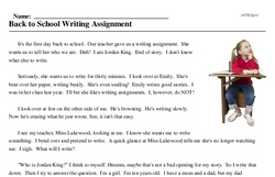 Print <i>Back to School Writing Assignment</i> reading comprehension.
