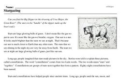 Print <i>Stargazing</i> reading comprehension.