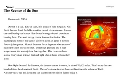 Print <i>The Science of the Sun</i> reading comprehension.
