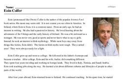 Print <i>Eoin Colfer</i> reading comprehension.