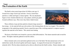 Print <i>The Formation of the Earth</i> reading comprehension.