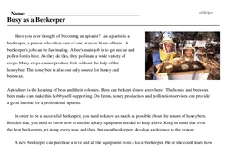 Print <i>Busy as a Beekeeper</i> reading comprehension.