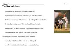 Print <i>The Baseball Game</i> reading comprehension.
