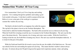 Print <i>Summertime Weather All Year Long</i> reading comprehension.