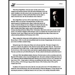 Print <i>Saki</i> reading comprehension.