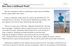 Print <i>How Does a Surfboard Work?</i> reading comprehension.
