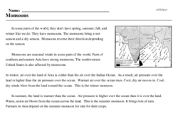 Print <i>Monsoons</i> reading comprehension.