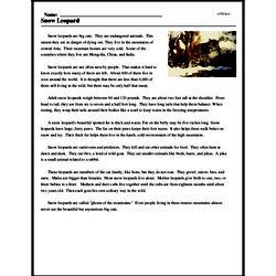 Print <i>Snow Leopard</i> reading comprehension.
