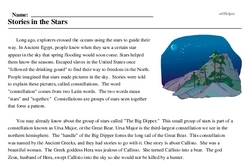 Print <i>Stories in the Stars</i> reading comprehension.