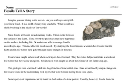 Print <i>Fossils Tell A Story</i> reading comprehension.