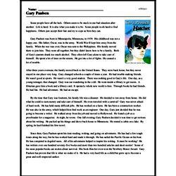 Print <i>Gary Paulsen</i> reading comprehension.