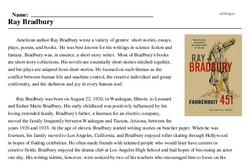Print <i>Ray Bradbury</i> reading comprehension.