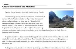 Print <i>Glacier Movements and Moraines</i> reading comprehension.