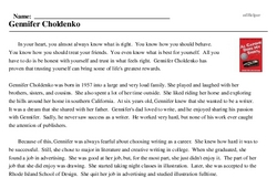 Print <i>Gennifer Choldenko</i> reading comprehension.