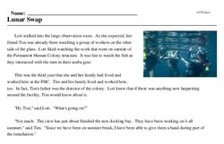 Print <i>Lunar Swap</i> reading comprehension.