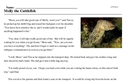 Print <i>Molly the Cuttlefish</i> reading comprehension.