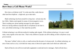 Print <i>How Does a Cell Phone Work?</i> reading comprehension.